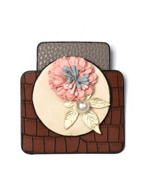 Fashion Brown Flower Geometric Form Leather Brooch