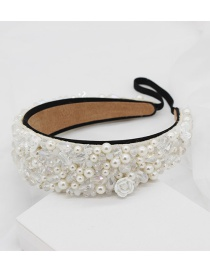 Fashion White Crystal Porcelain Flower Headband