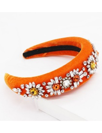 Fashion Orange Diamond Sun Flower Sponge Headband