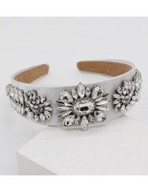 Fashion White Full Diamond Geometric Flower Headband