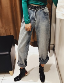 Fashion Gray-blue Waist Color Matching Raw Jeans
