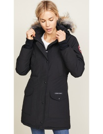 Fashion Black Fur Collared Pike Coat