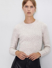 Fashion Creamy-white Solid Color Beaded Sweater Needle