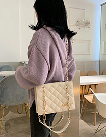 Fashion White Chain Rhombic Shoulder Bag