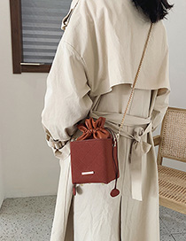 Fashion Brown Matte Chain Shoulder Crossbody Bag