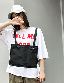 Fashion Black Elastic Drawstring Backpack
