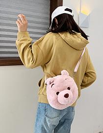 Fashion Pink Cartoon Chest Plush Shoulder Messenger Bag