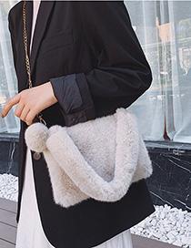 Fashion Beige Chain Fur Single Shoulder Messenger Bag