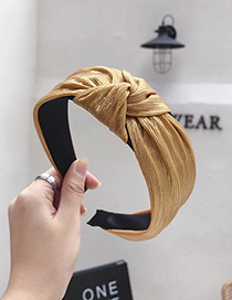 Fashion Yellow Bronzing Fabric Pleated Stripes Knotted Wide-brimmed Headband