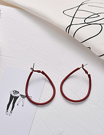 Fashion Red Geometric Frosted Round Earrings