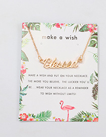 Fashion Gold English Letter Blessed Necklace