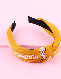 Fashion Yellow Cloth Pearl Chain Knotted Wide-brimmed Headband