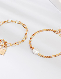Fashion Gold Metal Lock Natural Pearl Bracelet
