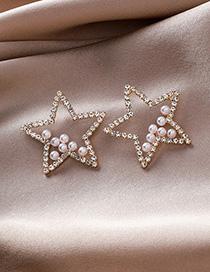 Fashion Gold 925 Silver Needle Pearl Rhinestones Pentagonal Earrings
