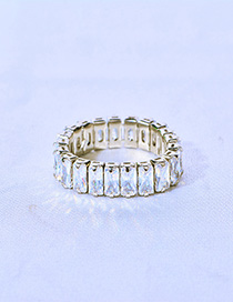 Fashion Silver Diamond Alloy Chain Geometry Ring