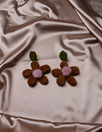 Fashion Brown Hairy Wood Flower Earrings