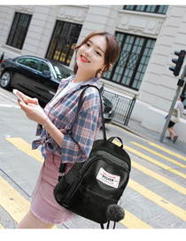Fashion Black Hair Ball Labeled Backpack  Pu