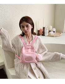 Fashion Pink Labeled Backpack  Canvas