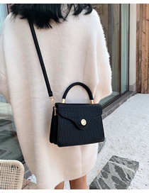 Fashion Black Stone Pattern Lock Shoulder Bag Shoulder Bag  Pu