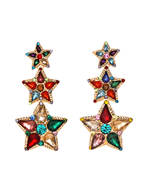 Fashion Color Alloy Studded Five-pointed Star Stud