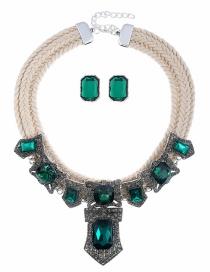 Fashion White Woven Twist Alloy Pierced Diamond Necklace Earrings Set