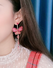 Fashion Pink Metal Butterfly Studded Tassel Earrings