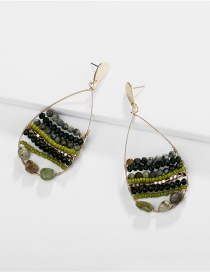 Fashion Green Natural Stone Beads: Rice Beads: Hollow Drop Earrings