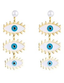 Fashion White Eye-painted Oil-plated Gold Pearl Earrings