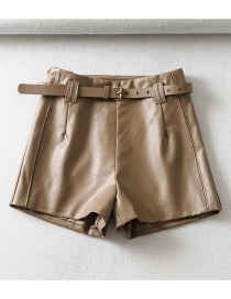 Fashion Khaki Belted A Word Leather Shorts