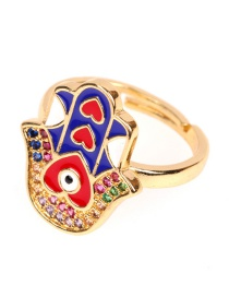 Fashion Blue Palm Heart Opening Drop Ring