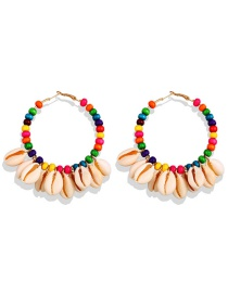 Fashion Color Wooden Beads Circle Natural Shell Tassel Earrings