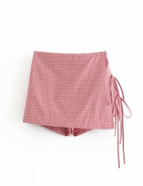 Fashion Pink Side Strap Plaid Print Skirt