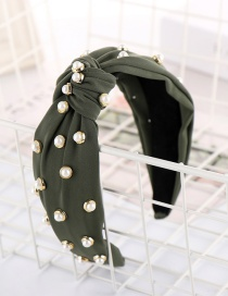 Fashion Army Green Shaped Diamond Bead Knotted Headband