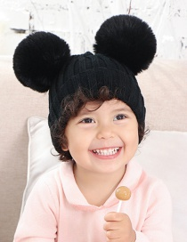 Fashion Black Threaded Double-hair Ball Knitted Baby Hat