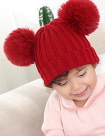 Fashion Wine Red Threaded Double-hair Ball Knitted Baby Hat