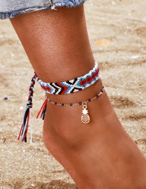 Fashion Color Woven Wide-brimmed Pineapple Anklet Set Of 2