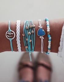 Fashion Blue Woven Cactus Line Rope Beads Sapphire Bracelet 5 Piece Set