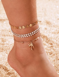 Fashion Gold Alloy Disc Coconut Tree Multi-layer Wheat Ear Anklet 3 Piece Set
