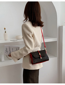 Fashion Red Stitching Printed Contrast Color Shoulder Messenger Bag