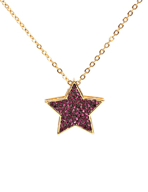 Fashion Red Micro-studded Zircon Pentagram Necklace