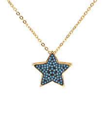 Fashion Blue Micro-studded Zircon Pentagram Necklace