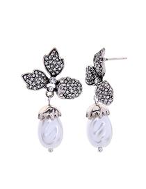 Fashion Burning Silver Diamond Flower Pearl 925 Sterling Silver Earrings