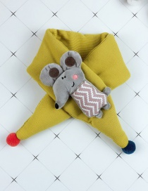 Fashion Yellow Cartoon Mouse Baby Cotton Padded Quilted Scarf