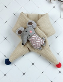 Fashion Beige Cartoon Mouse Baby Cotton Padded Quilted Scarf