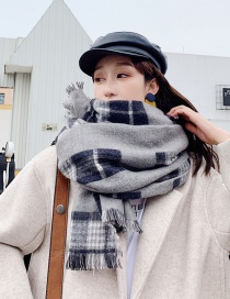Fashion Black Ash Plaid Shawl Scarf
