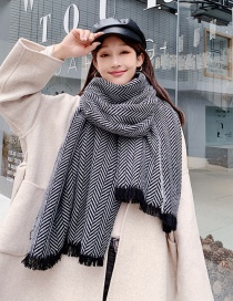 Fashion Black Herringbone Pattern Short-cut Cashmere Scarf Shawl Dual Purpose