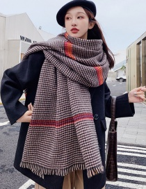 Fashion Khaki Houndstooth Shawl