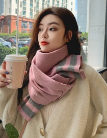 Fashion Pink Dual-use Knitted Woolen Pocket Shawl