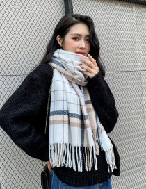 Fashion White Grid Sub-thick Scarf Shawl Dual Purpose