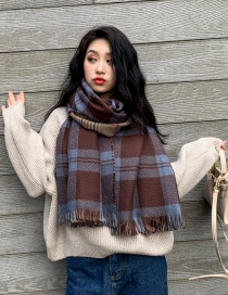 Fashion Cafe Plaid Cashmere Double Shawl Scarf